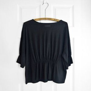 OAK + FORT Black Peplum Cinched Blouse